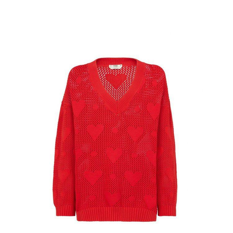 七夕限定系列紅色愛心圖騰針織衫,37,500元。圖/FENDI提供