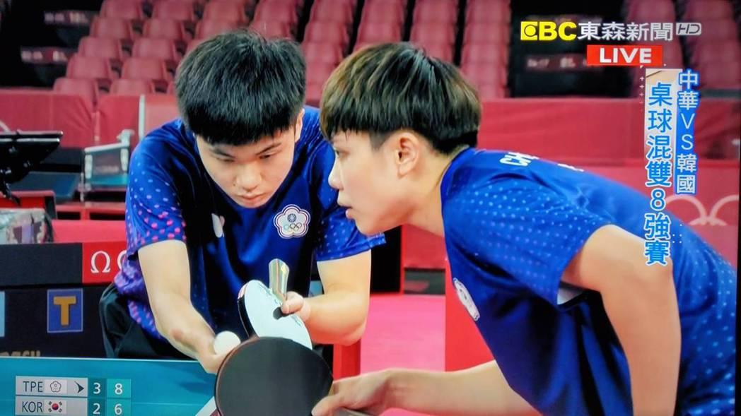 桌球小將林昀儒的發球給南韓對手造成極大壓力,最後中華隊黃金混雙桌球賽以4比2領先...