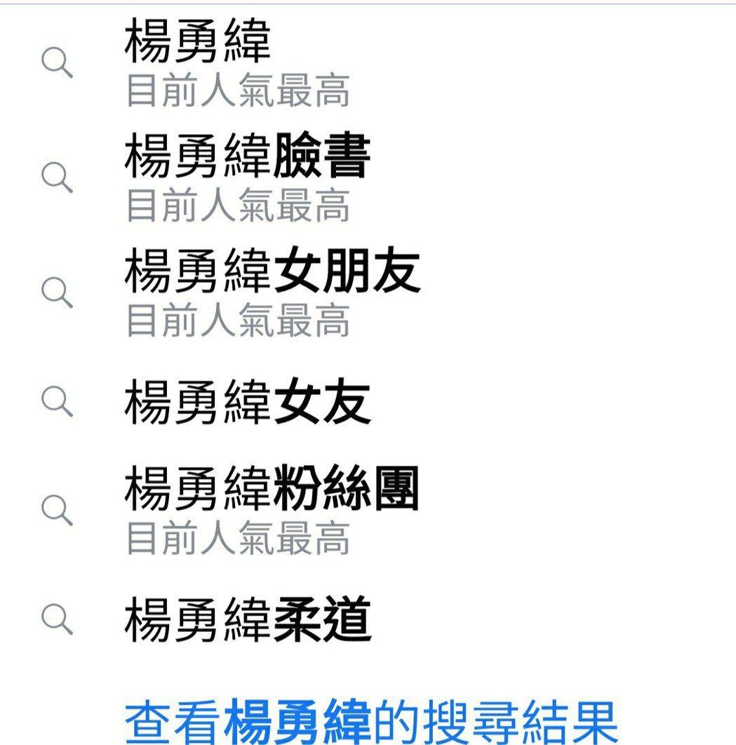 奧運柔道銀牌的楊勇緯成知名人物,他也成為臉書搜尋,「目前人氣最高」。圖/取自臉書