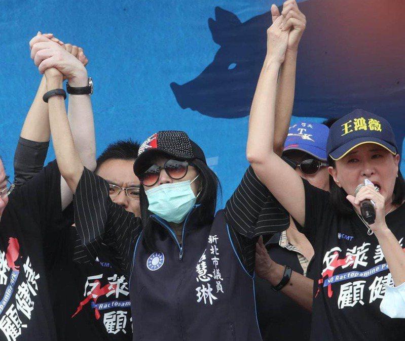 新北市議員唐慧琳去年參加反萊豬遊行。圖/取自江啟臣臉書