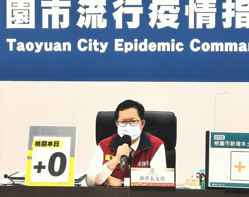 桃園市長鄭文燦說明第三輪全民預約接種及教師、補教老師本周打疫苗。圖/市政府提供