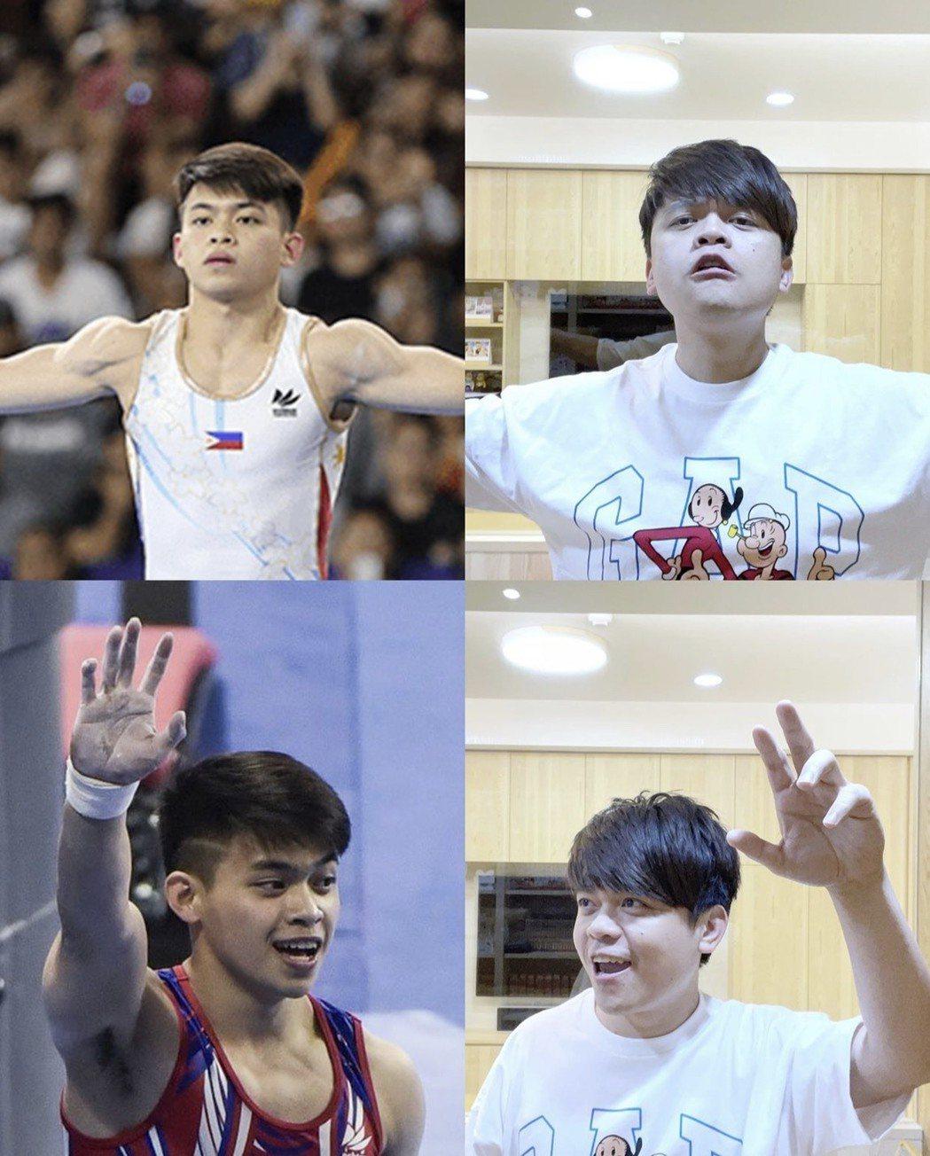 蔡阿嘎(右)搞笑自己參加東奧,還學菲律賓體操選手尤洛動作。圖/摘自IG