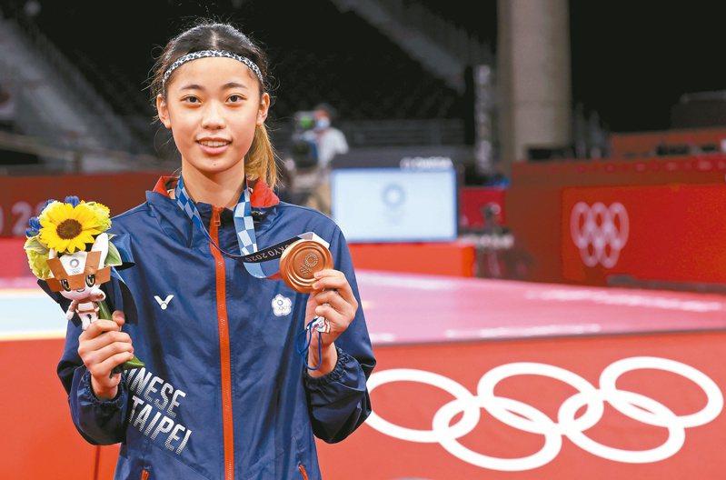 羅嘉翎在東奧跆拳道女子57公斤級中摘銅。特派記者余承翰/東京攝影