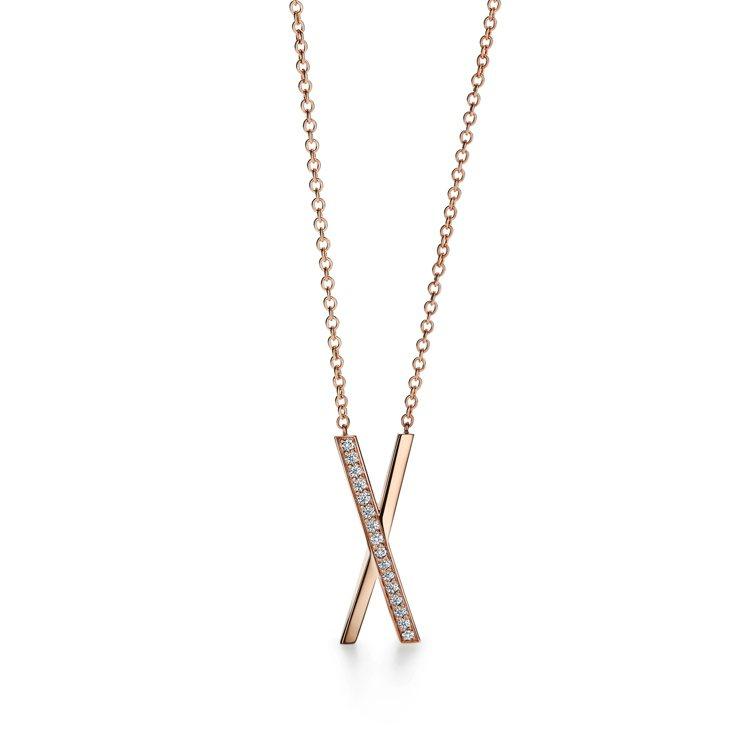 Tiffany Atlas X 18K玫瑰金鑲鑽項鍊,12萬元。圖/Tiffan...