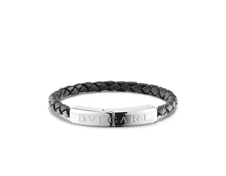 BVLGARI BVLGARI MAN編織小牛皮銀手環,20,200元。圖/寶格...