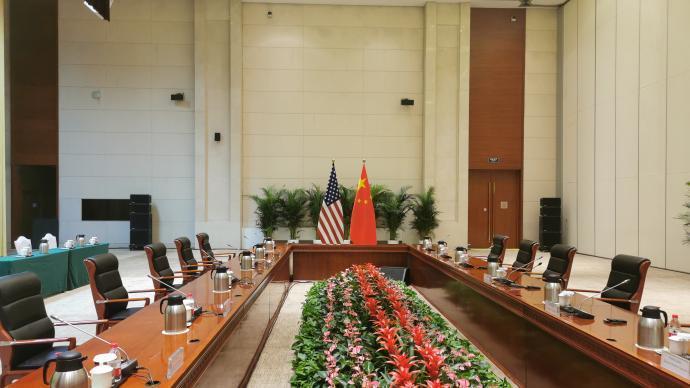 中美外交高層官員今天在天津舉行會談。澎湃新聞