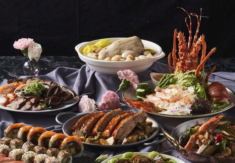 「饗饗」套餐包含波士頓龍蝦佐明太子醬、極選壽司盛合,每套3,888元。圖/饗賓餐旅提供