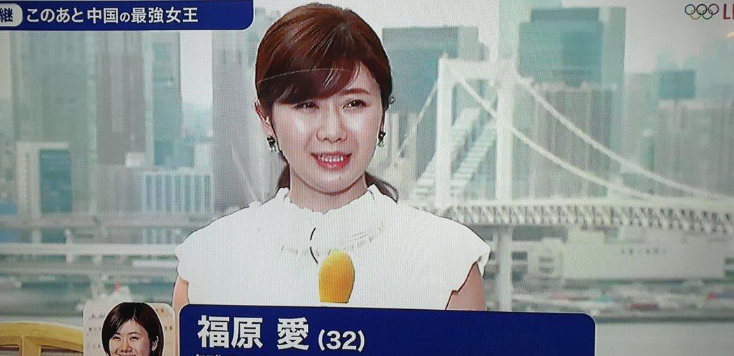 福原愛現身轉播。圖/翻攝自富士電視台