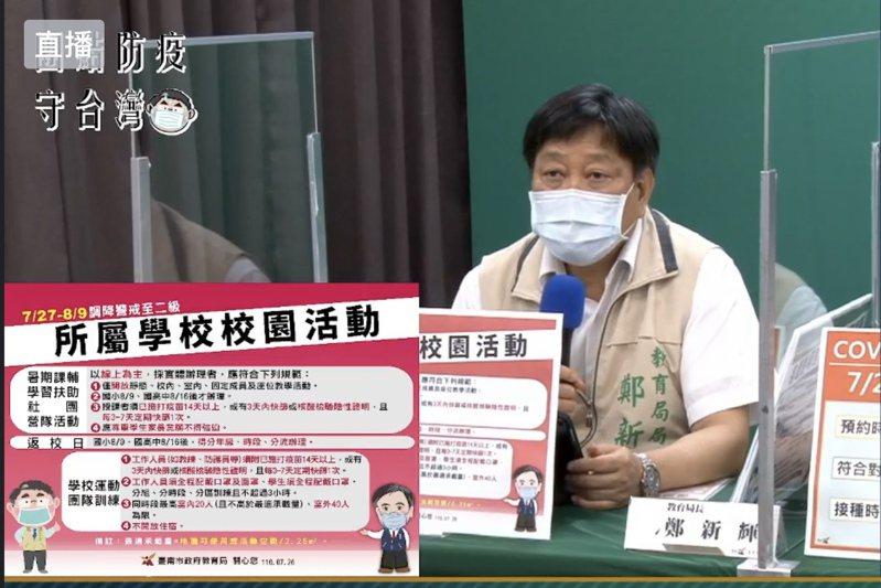 台南市教育局局長鄭新輝今天在防疫記者會中宣布各級學校暑期課輔開始的日期。記者修瑞瑩/翻攝