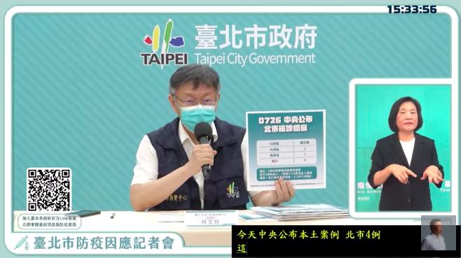 台北市長柯文哲今天表示,台北市今天新增的四例確診,三例在內湖區、一例在萬華;至於感染方式,其中有三例都廣義的家戶感染,包括朋友間的感染,一例是傳染給自己的父親。圖/引用直播