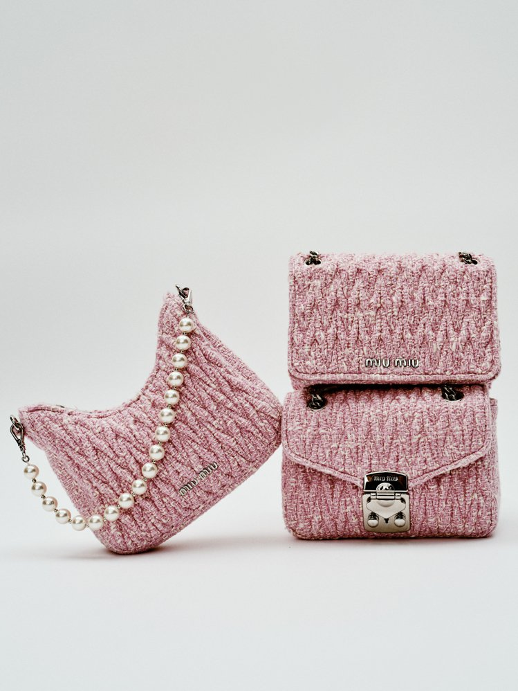 珍珠粗花呢手提包44,000元,粗花呢翻蓋肩背包47,500元,粗花呢肩背包,價...