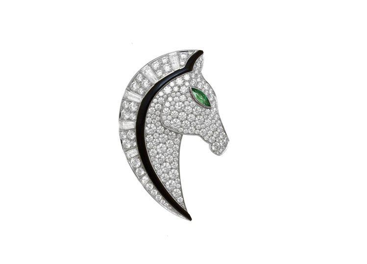 BVLGARI FESTA系列頂級縞瑪瑙與鑽石馬頭造型胸針,290萬元。圖/寶格...