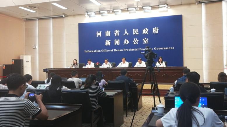 河南省26日下午防汛救災新聞發布會現場。(香港文匯網)