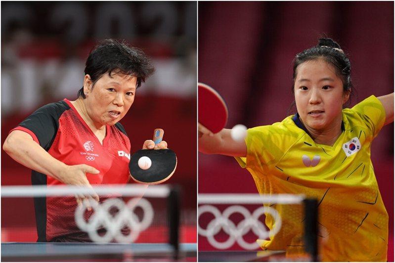 擁有5屆奧運參賽經驗的58歲盧森堡「桌球阿嬤」倪夏蓮(左),是本屆東奧最年長的參選手,她與首輪對手的南韓申裕斌兩人相差41歲。 新華社、美聯社