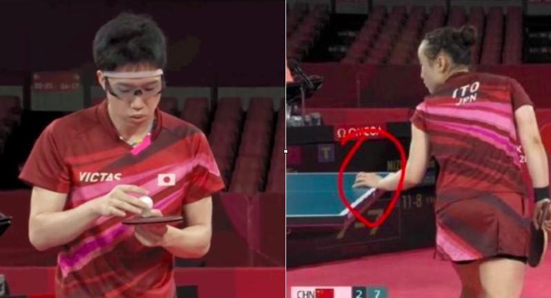 中國網友怒指日本選手水谷隼在比賽中對球吹氣氣,伊藤美誠更直接用手摸球桌,但裁判並未裁罰。圖擷自微博。