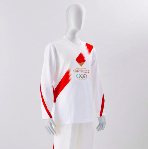 傳遞聖火的火炬手服飾。圖/翻攝自2020 tokyo olympics推特