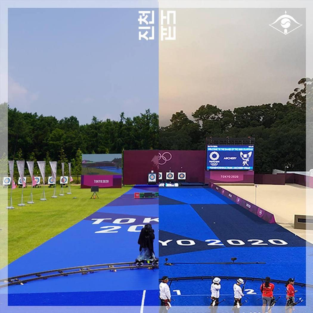 南韓隊為了讓選手有臨場感,直接在南韓本土布置了一個決賽場地。圖翻攝自南韓射箭協會