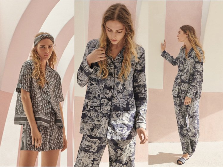 DIOR Chez Moi 2021早秋推出多款印花絲質睡衣。圖/DIOR提供