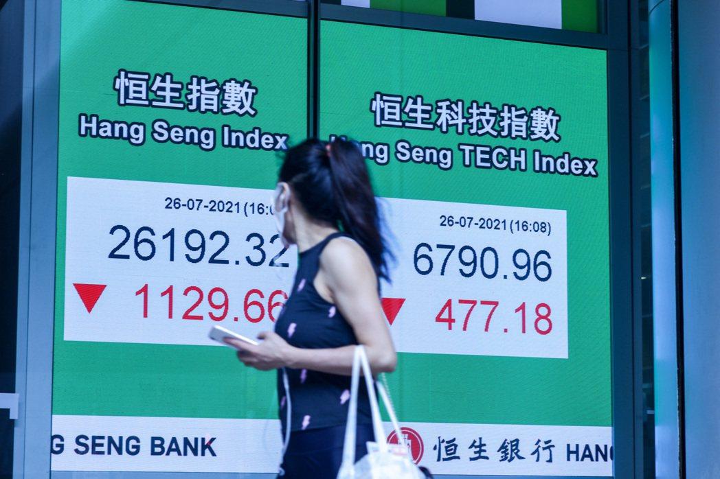 大陸嚴監管致陸港股市大跌,香港恒生指數26日大跌1,129點,跌幅高達4.1%(...