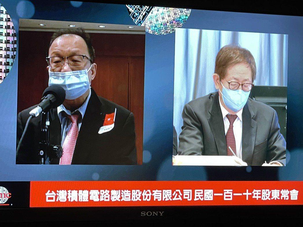 台積電董事會劉德音(右)主持股東大會,回答小股東提問。記者尹慧中攝影