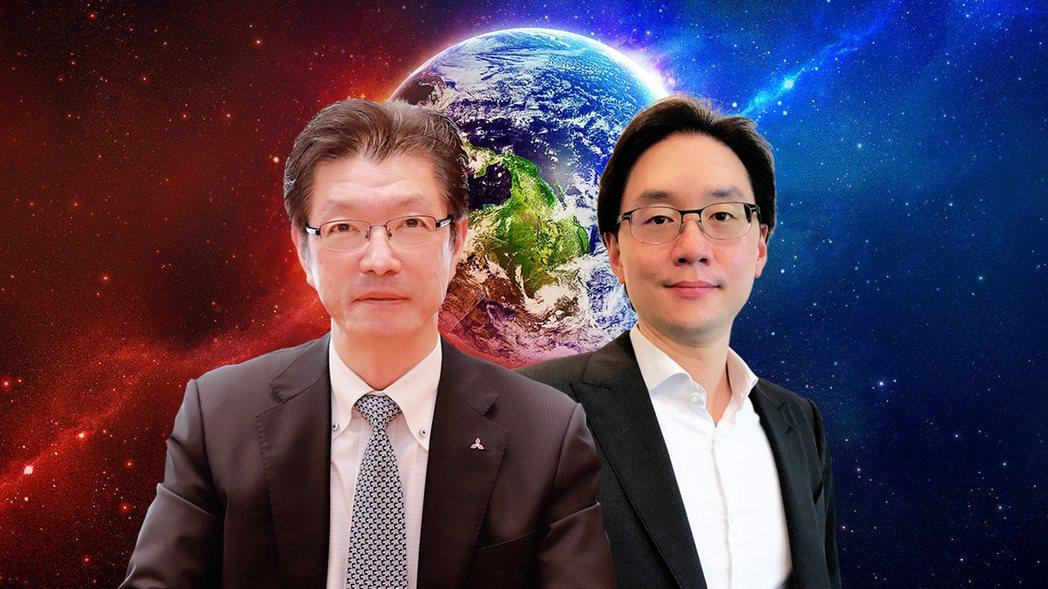 台灣三菱電機董事長花岡尚夫(左),大眾全球投資控股總經理簡民智(右)。