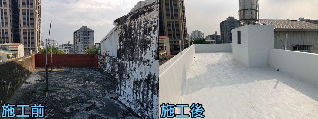 使用阿布科技的屋頂雨衣,有效解決屋頂漏水問題。阿布/提供。