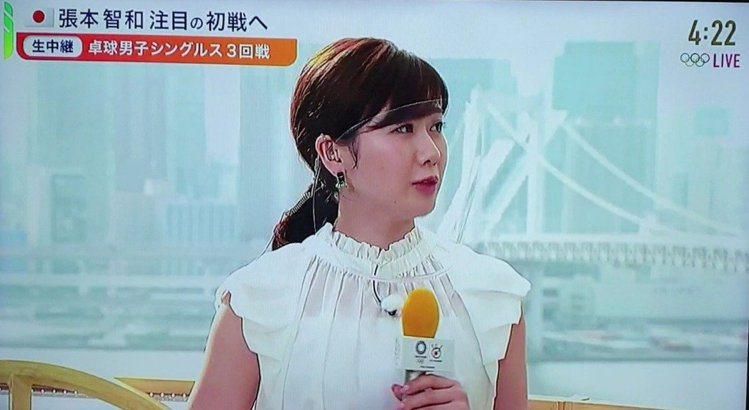 福原愛為了講解工作配合電視台要求站在戶外。圖/翻攝自富士電視台