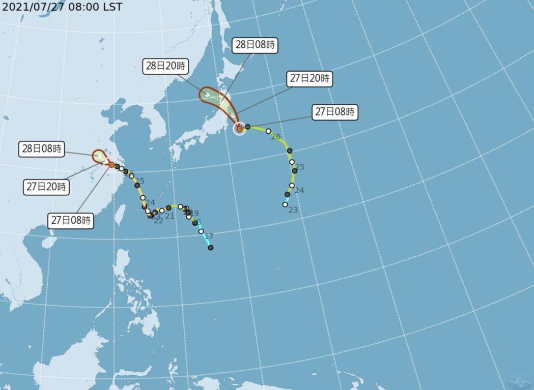 氣象局表示,尼伯特颱風的強度一直在減弱,僅管可能會為東奧場地帶來些風雨,但雨勢都...