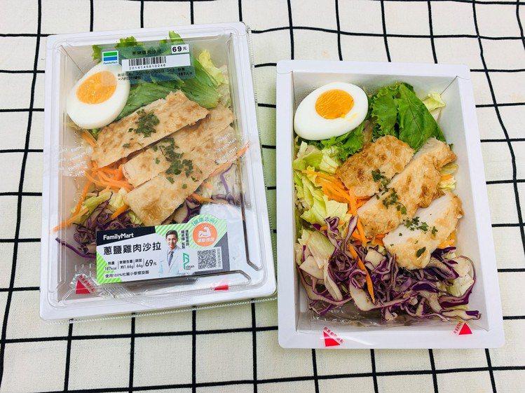 全家便利商店門市7月28日起推出營養師楊承樺聯名開發的「蔥鹽雞肉沙拉」,是首款台...