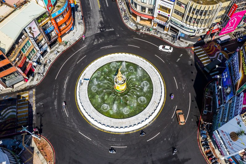 嘉義市地標中央噴水圓環今天起重新噴水。圖/嘉義市政府提供