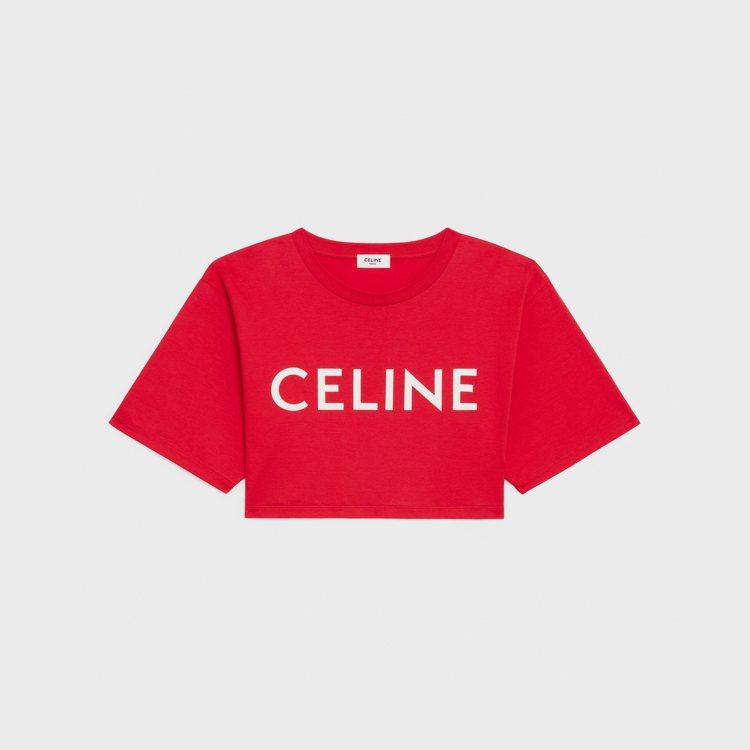 紅色短版上衣,13,000元。圖/CELINE BY HEDI SLIMANE提...