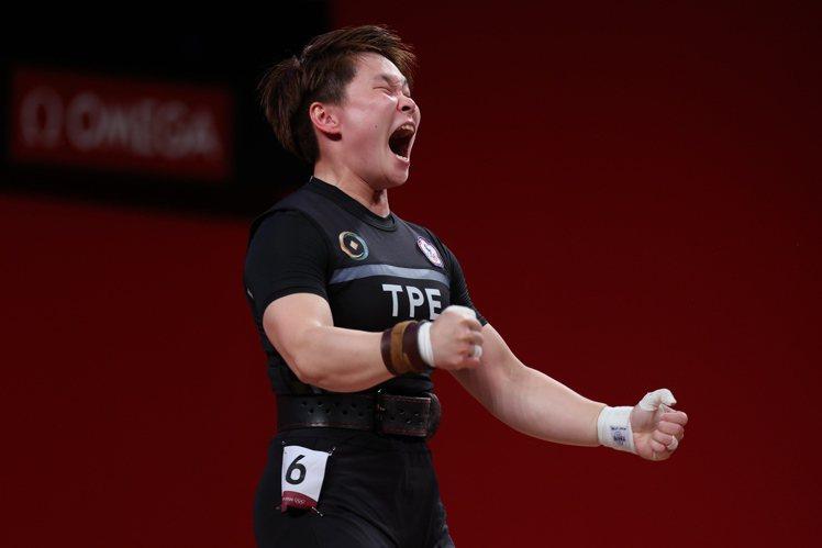 舉重好手陳玟卉今天在東京奧運舉重女子64公斤級A組出賽。特派記者余承翰/東京攝影