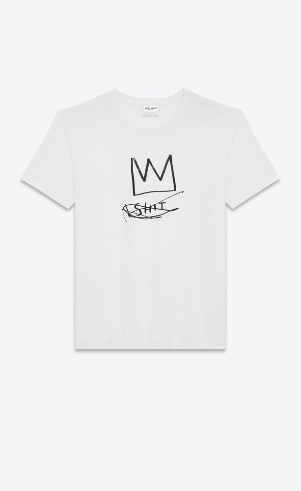 SAINT LAURENT巴斯奇亞系列髒話T恤,285英鎊、約台幣11,338元...