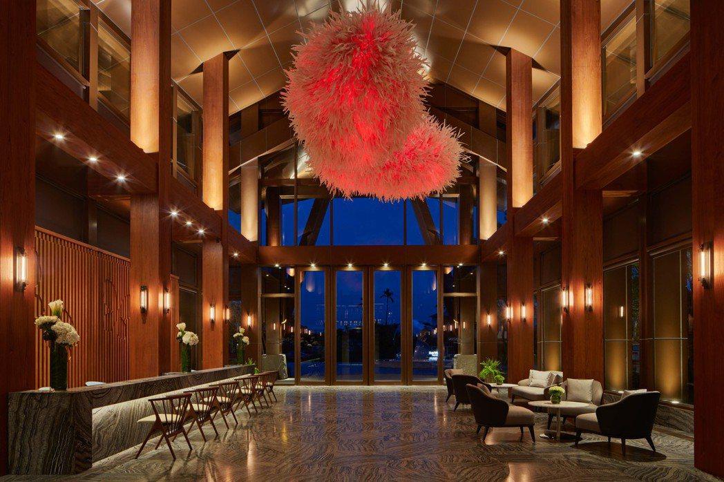 威斯汀酒店大廳獨特的休閒渡假風格。