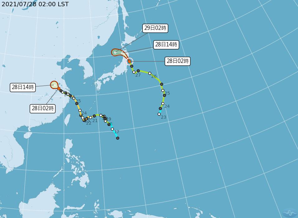 輕颱尼伯特在日本本州北部,將向西北西轉偏西進入日本海。另一颱風烟花持續減弱消散,...