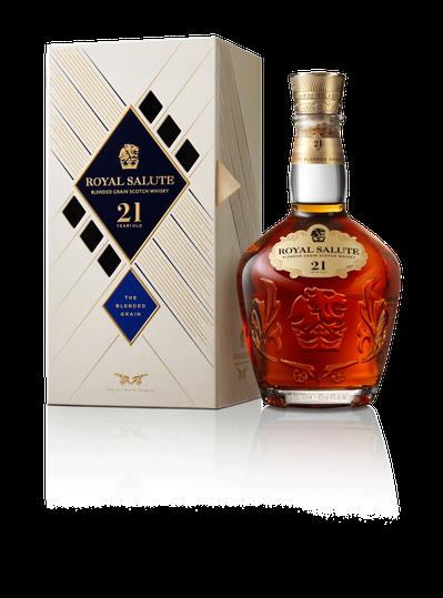 「皇家禮炮全新21年蘇格蘭穀物威士忌——王者之鑽」是皇家禮炮第一支採用晶透玻璃瓶...