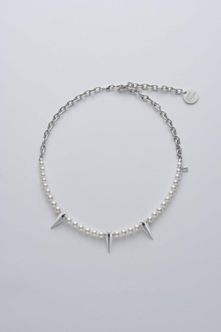 MIKIMOTO x COMME des GARÇONS聯名珍珠項鍊鉚釘裝飾半鍊...