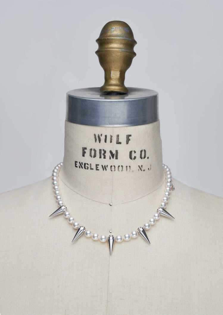 MIKIMOTO x COMME des GARÇONS聯名珍珠項鍊鉚釘裝飾款,...