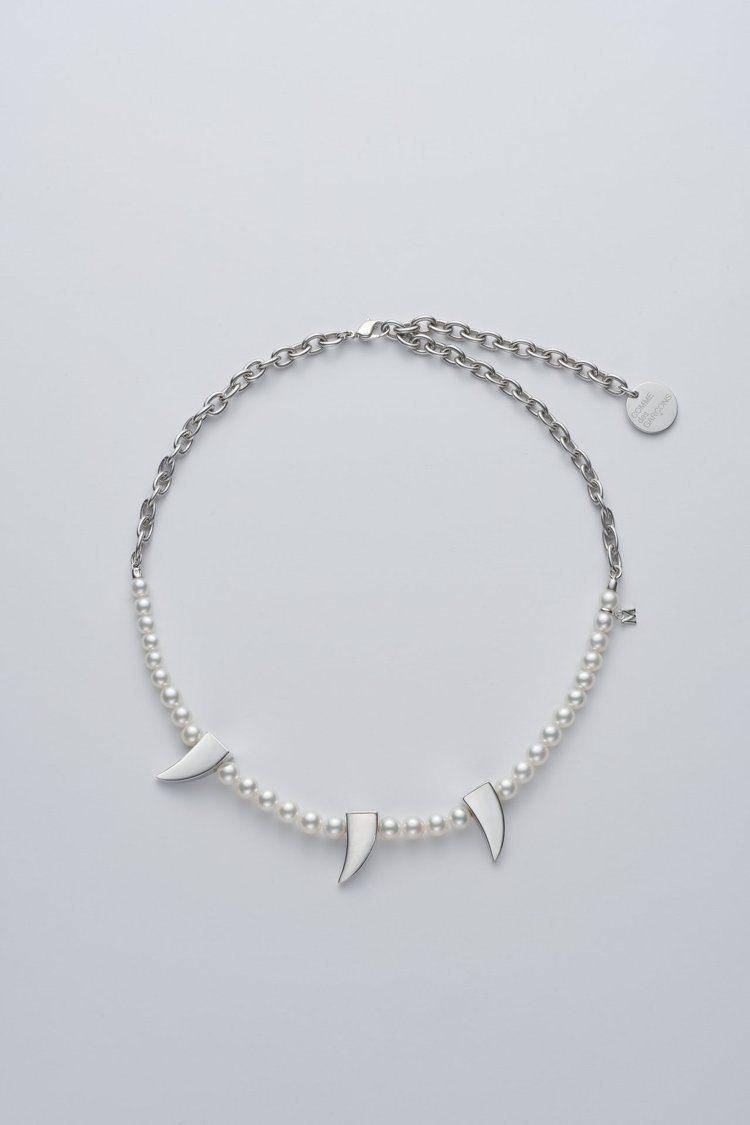 MIKIMOTO x COMME des GARÇONS聯名珍珠項鍊尖牙裝飾半鍊...