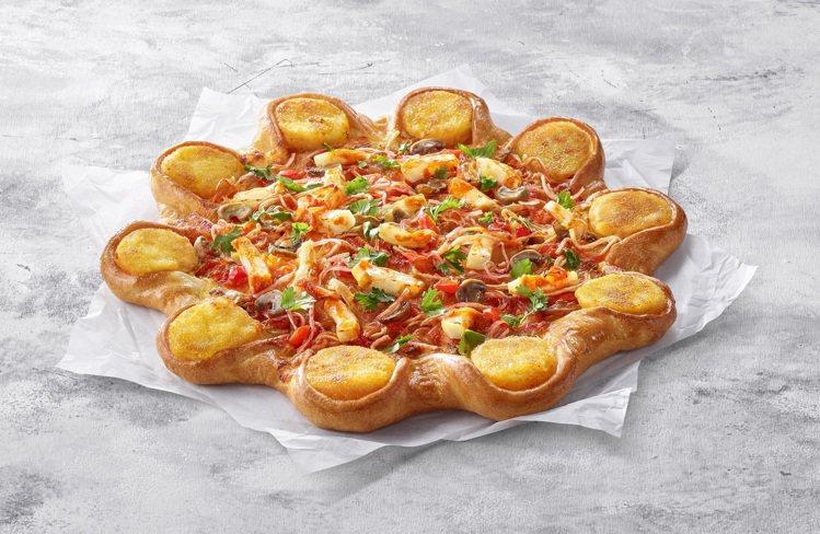 冬蔭功蝦餅比薩,單點優惠價459元。圖/必勝客提供