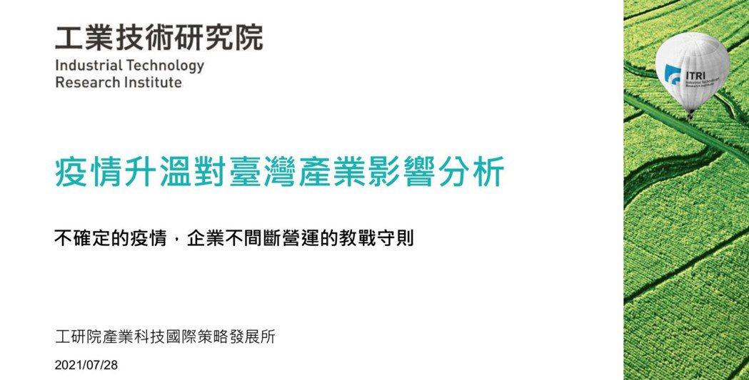 工研院今發表「疫情升溫對產業影響調查」: 7成製造業及服務業受影響,工研院提出企...