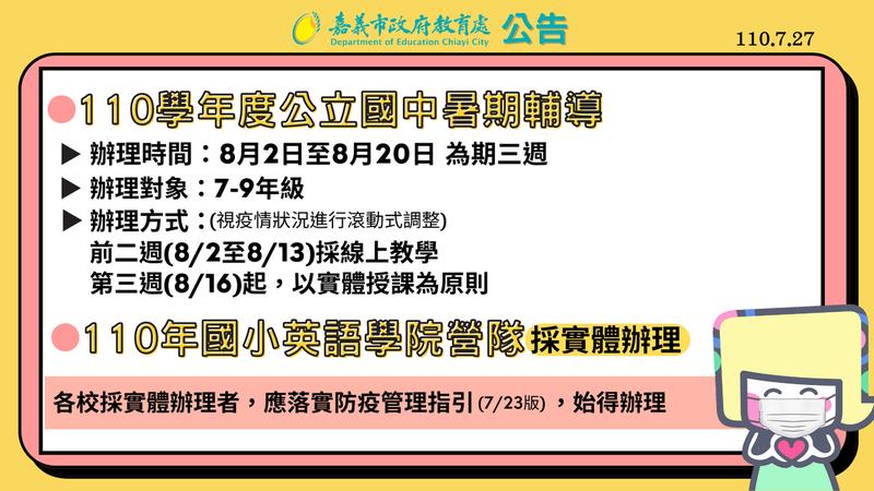 嘉義市國中教職員已接種疫苗,市府教育處宣布國中暑期輔導8月開始,前2周採線上,第3周起恢復實體授課。圖/嘉義市政府提供