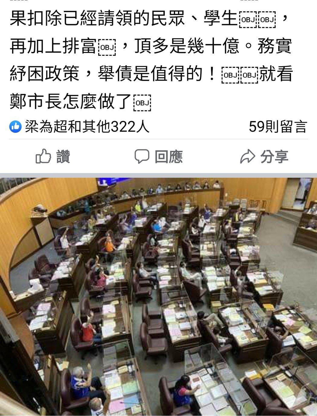 桃園市議員徐玉樹在臉書說明提案要求市政府普發5000元的緣由,還有如何籌措普發經...