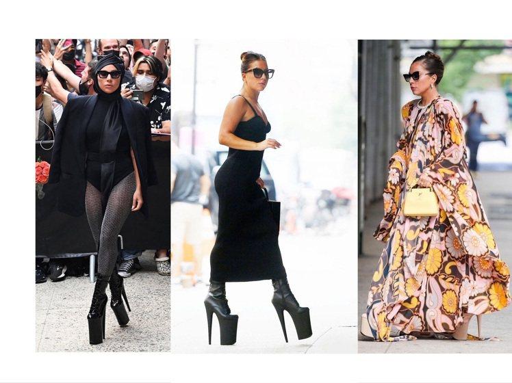 Lady Gaga近日在紐約的浮誇造型,重拾她最愛的防水台恨天高。圖/取自IG ...