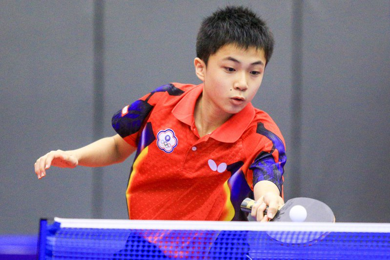 2015年台北青少年桌球公開賽,當時13歲的林昀儒青澀模樣。 報系資料照