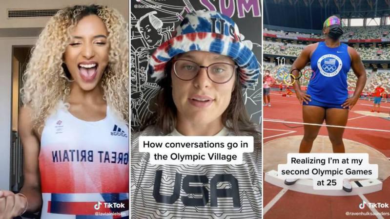 2020東京奧運碰上疫情,未能開放觀眾至現場觀賽,不過不少運動員都透過tiktok(抖音)平台上傳短片,為疫情中的賽事增添趣味風貌。 圖/截自tiktok