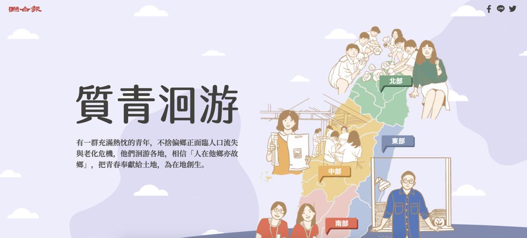 透過專題內的洄游台灣地圖的設計,可看見北中南東各地,從事友善農業、教育、循環經濟...