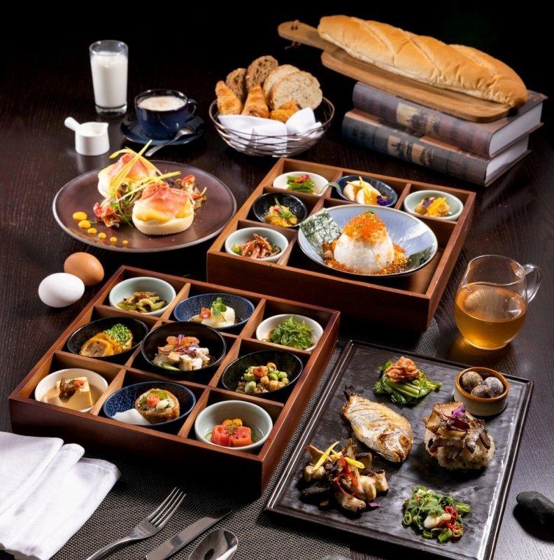 PRIME ONE牛排館九宮格中式早餐與西式早餐內容。 瑞穗天合/提供