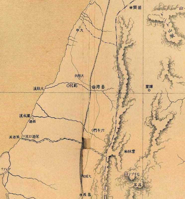 1896年《臺灣全圖》(局部),圖中仍可見到「臺灣」作為一個城市名,引自《臺灣總督府民政局殖產部報文》。(圖/國立臺灣圖書館提供)