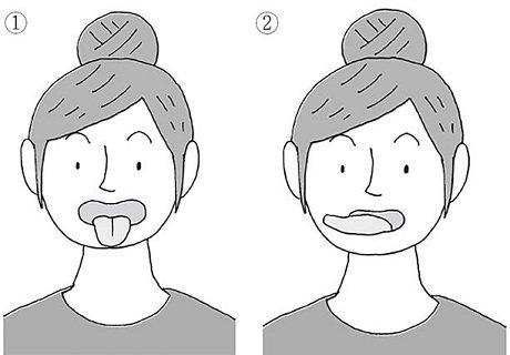 圖說:●①把嘴巴張大,重複二至三次伸出舌頭收回的動作②再左右搖動舌尖二至三次(照片/天下雜誌出版提供)